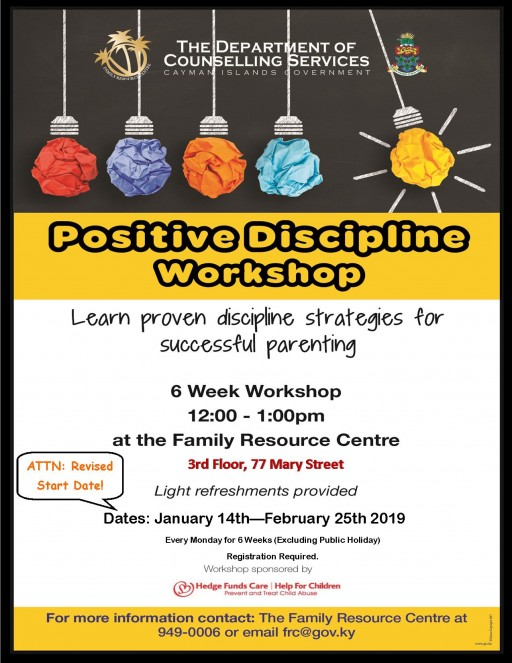 Positive Discipline Workshop starts 14 January - Register Today!
